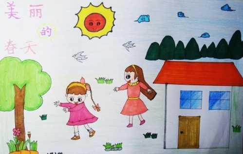 画一幅美丽的画 优秀儿童画春天的图画